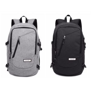 Front view showing black and grey colour options of a waterproof school backpack.