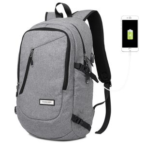 Front view showing grey waterproof school backpack.