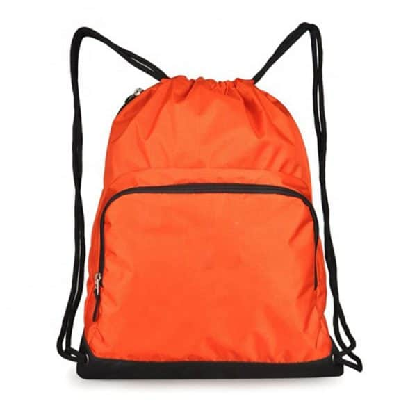 Front view of an orange drawstring custom folding backpack.