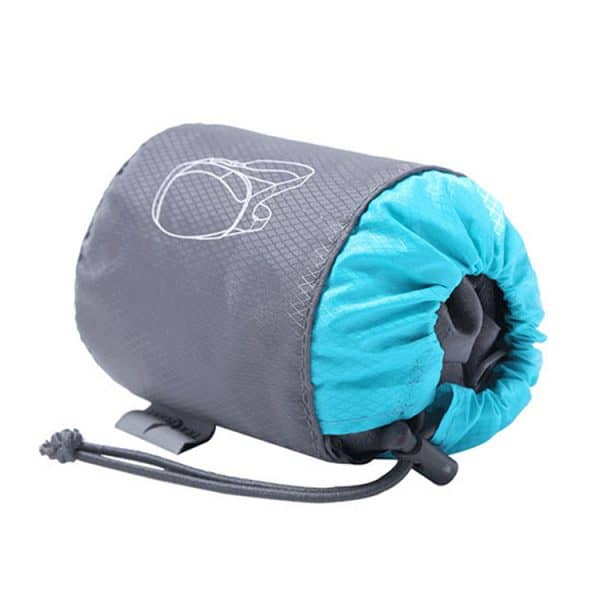 Folded view of a durable folding backpack.