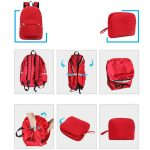 Folding steps pictured of a red foldable travel backpack.