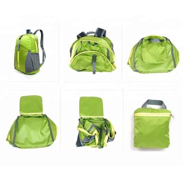 Steps to fold a green foldable outdoor backpack.