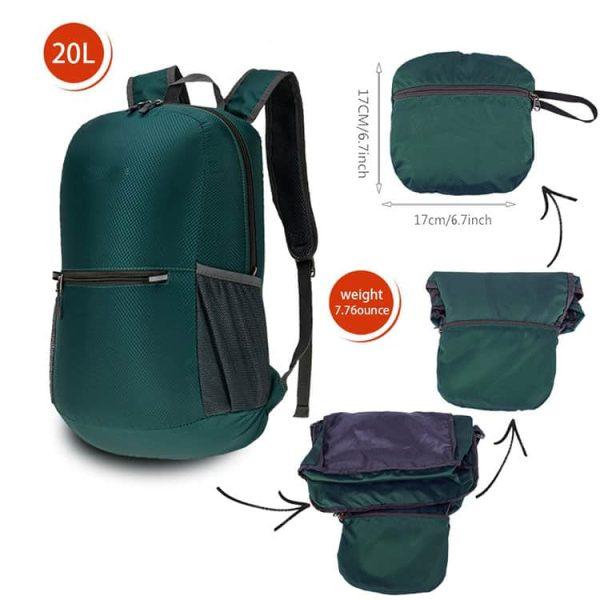 Measurement view of a custom handy folding backpack.