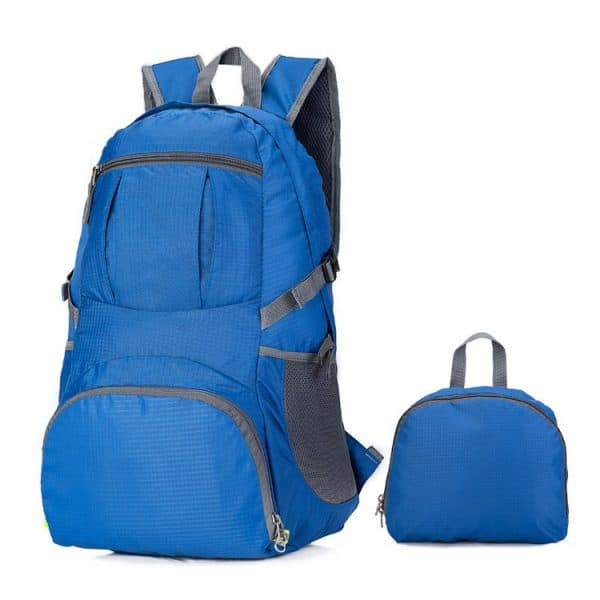 Folded view of a custom lightweight folding backpack.