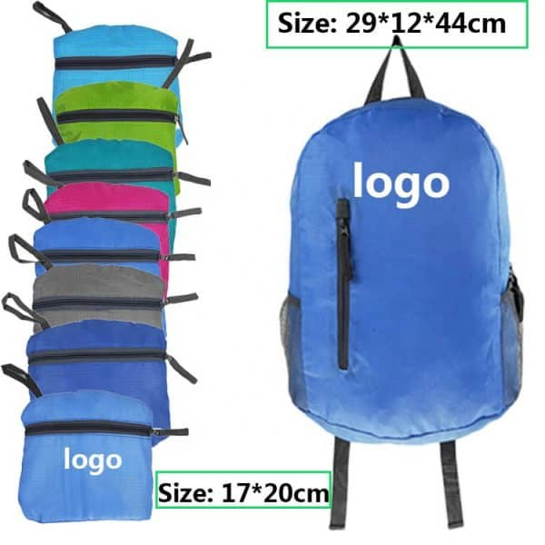 Front view of a lightweight folding backpack.