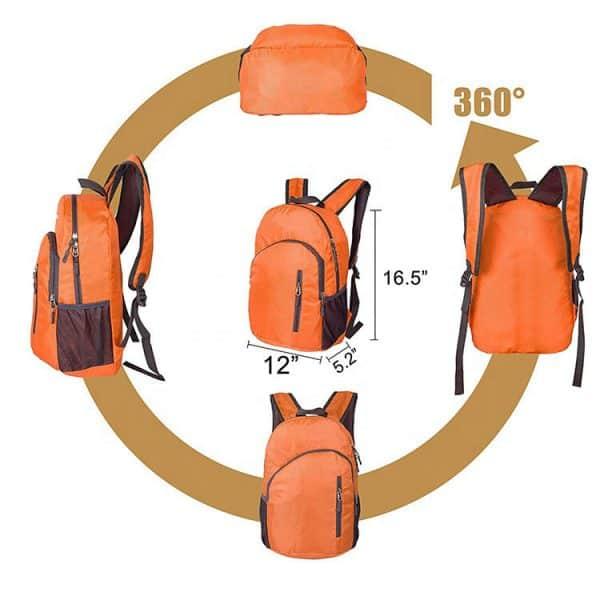 Easy steps to fold view of a nylon travel folding backpack.