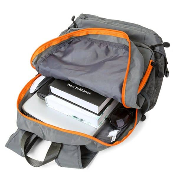 Open top compartment view of a waterproof travel folding backpack.