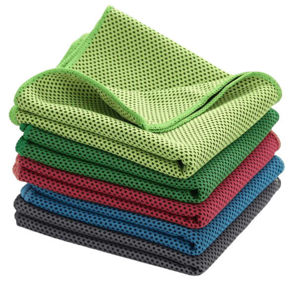 Custom sports towel in assorted colours.