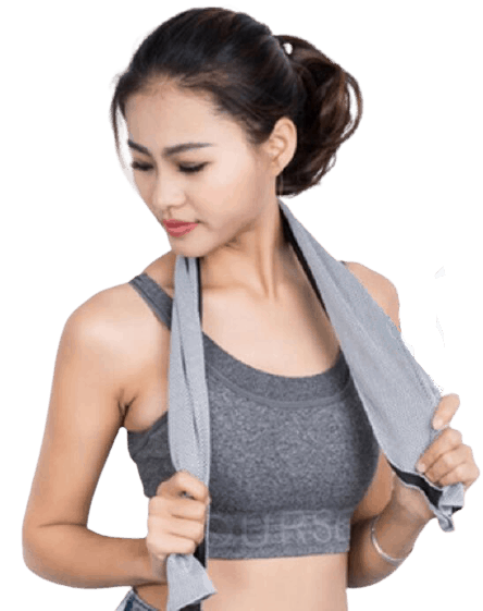 Fitness girl modelling a grey custom sports towel.