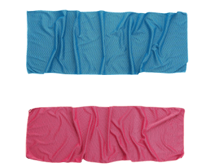 Pink and blue custom fitness towels.