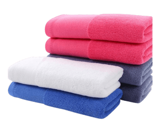 Custom slim compact towels pictured folded.