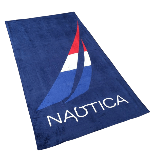 Navy blue customised beach towel with a 3 colour logo woven into the material.