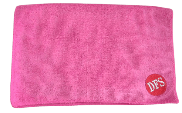Pink micro fibre custom towel with an embroidered logo in the bottom right hand corner.