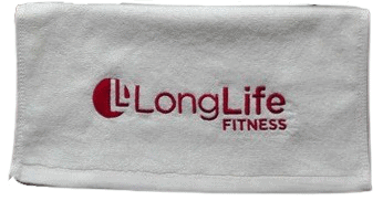 White custom branded gym fitness towel with a red embroidered logo.