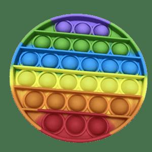 Rainbow coloured circular shaped push pop bubble.