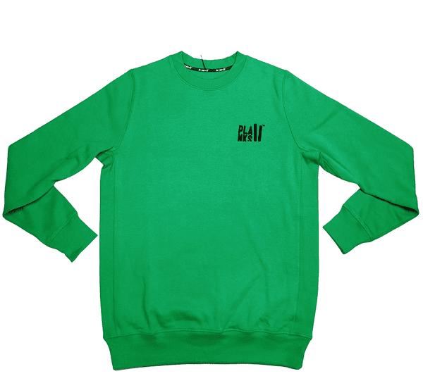 Green custom crewneck with black logo.