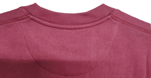 Maroon custom crewneck showing the neck view and stitching quality.