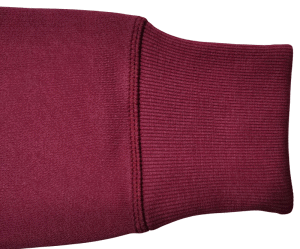 Maroon custom crewneck showing the left sleeve end and stitching quality.