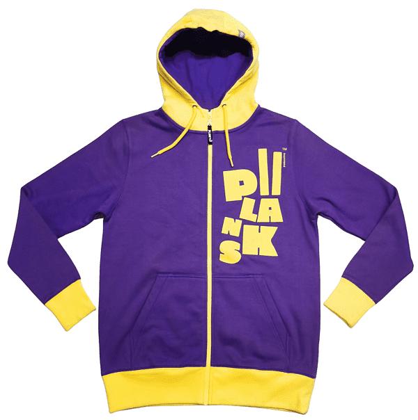 Purple and yellow custom hoodie with a printed logo